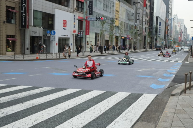 Ginza district Tokyo, super mario cart on the street of Japan