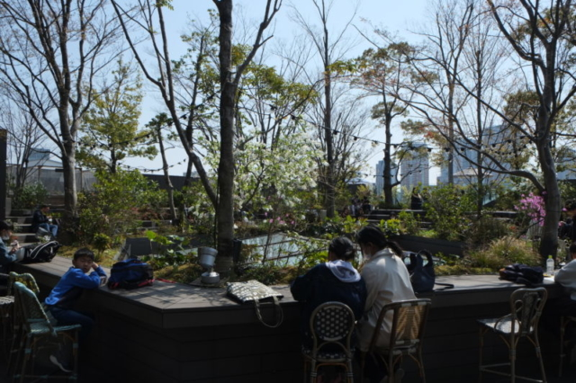 Garden on the roof in Tokyo mall